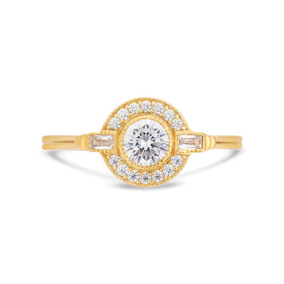 Round Art Deco halo diamond ring in yellow gold