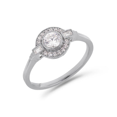 Round Art Deco diamond halo ring in white gold
