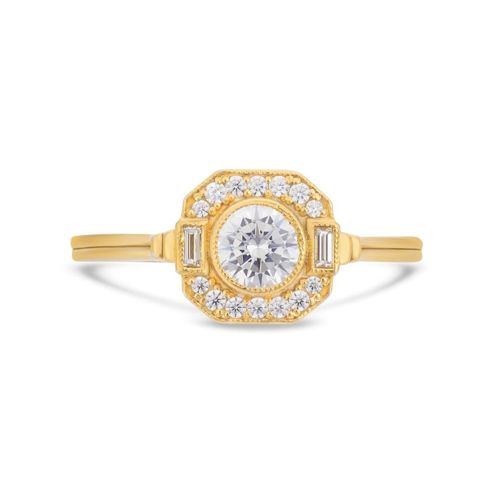 Asscher Art Deco halo diamond ring in yellow gold