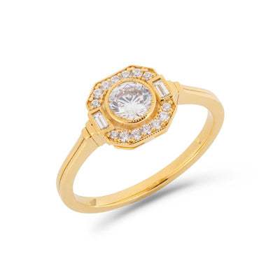 Asscher Art Deco halo ring in yellow gold