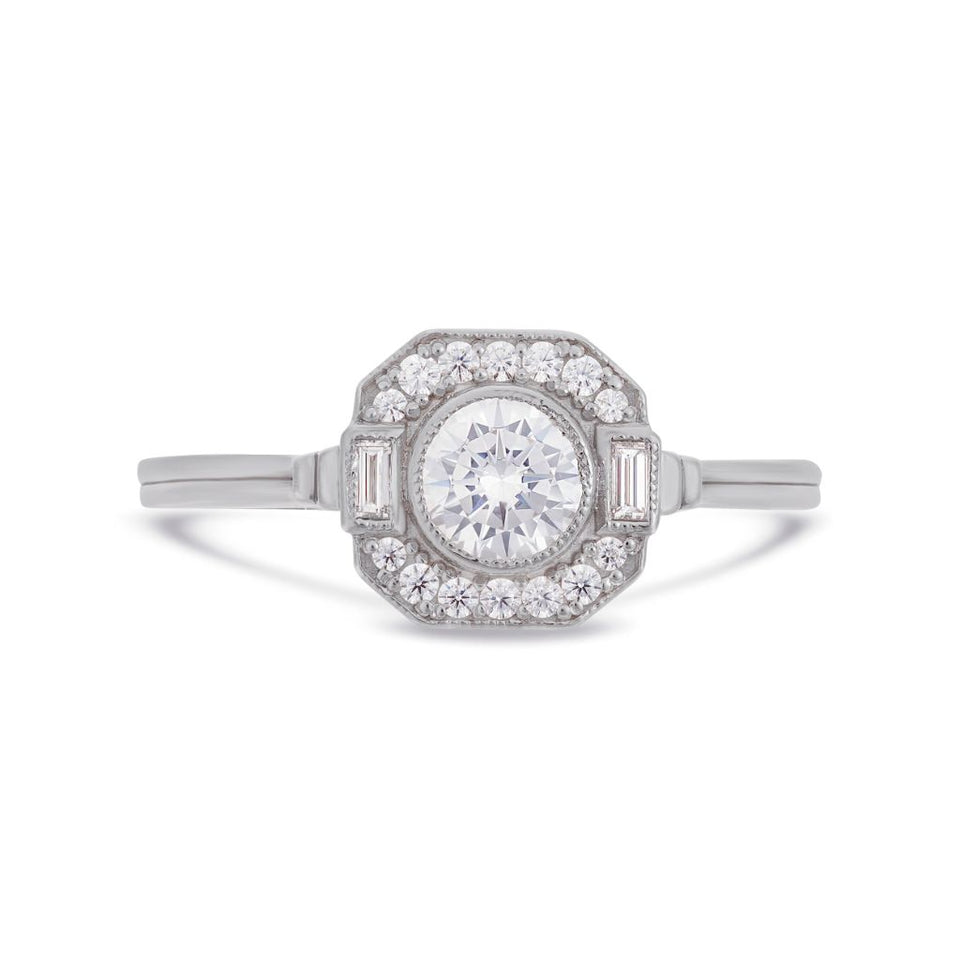 Asscher Art Deco diamond halo ring in white gold