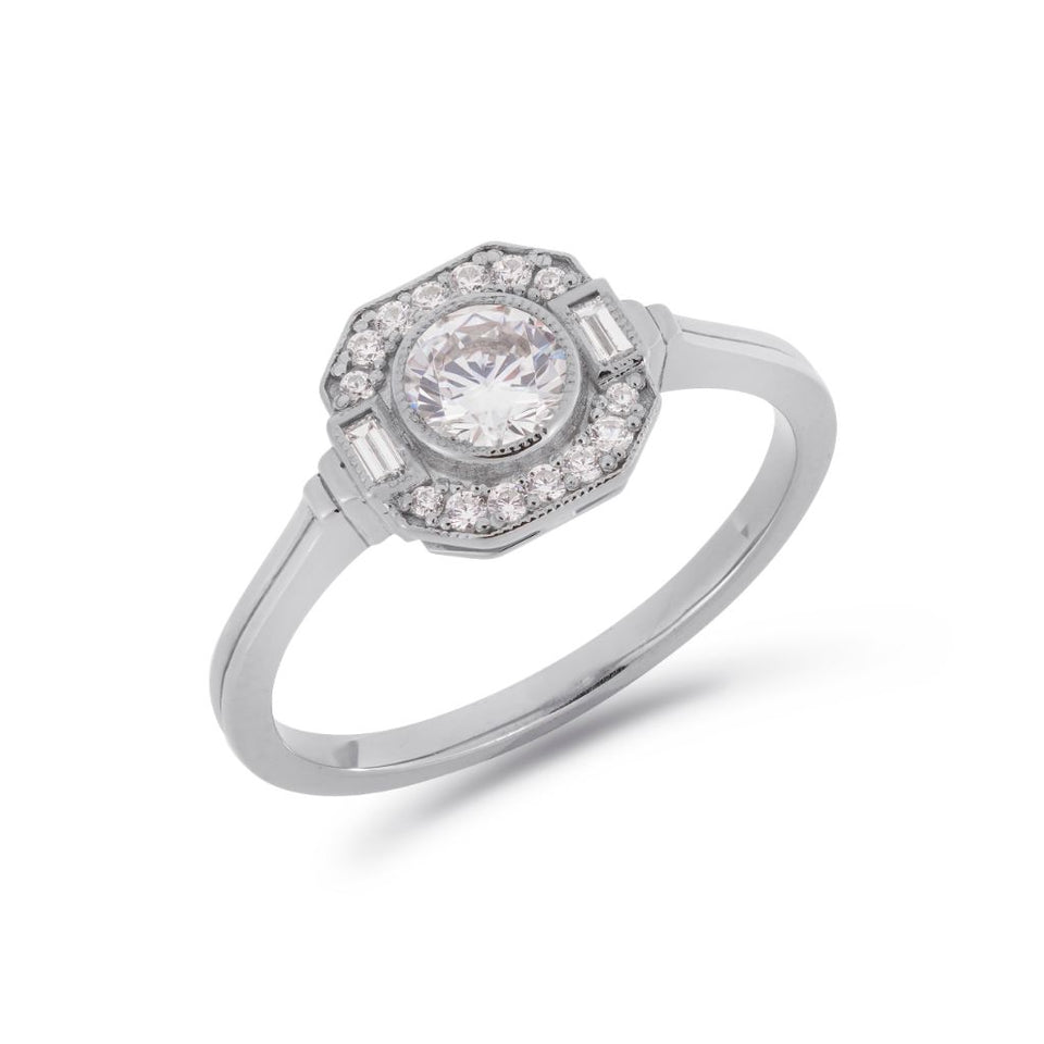 Asscher Art Deco diamond halo ring in platinum