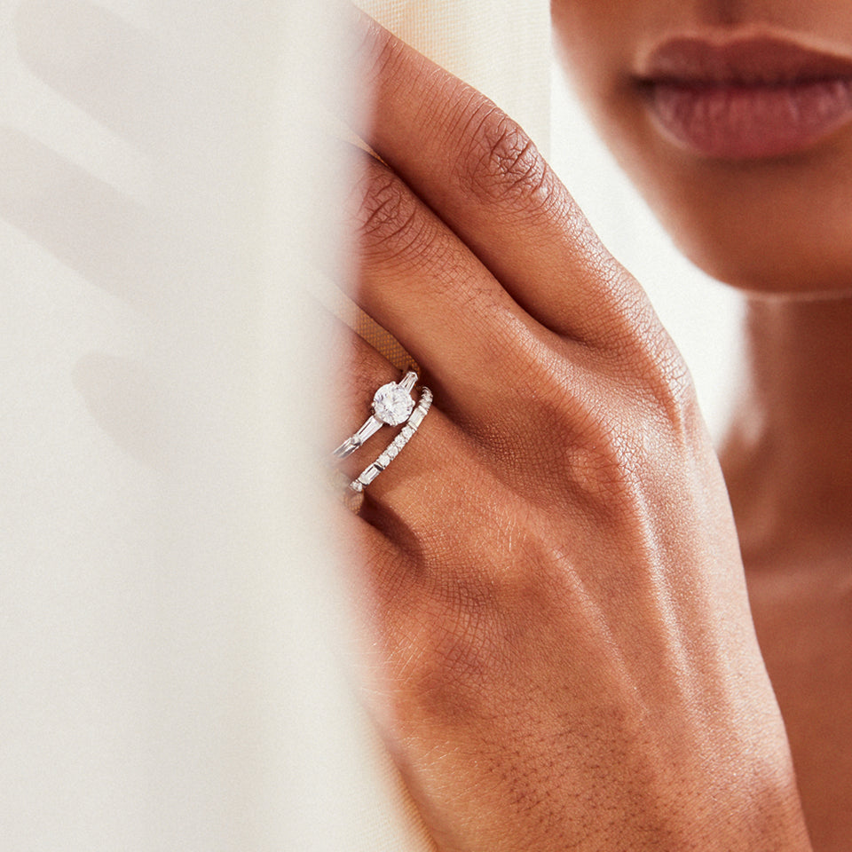 Illusion bullet & brilliant cut diamond ring in platinum engagement ring v by laura vann