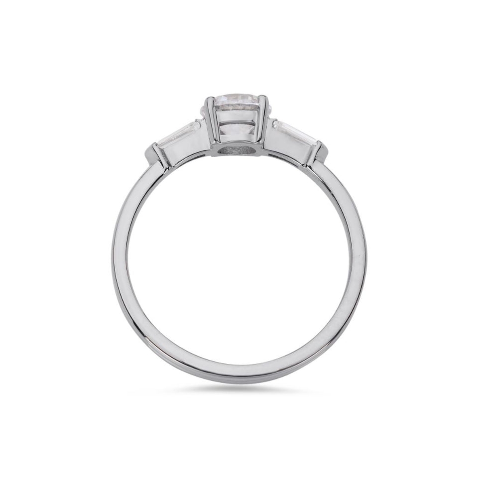 PACK: Platinum/White Gold Illusion Bullet & Brilliant Cut Ring