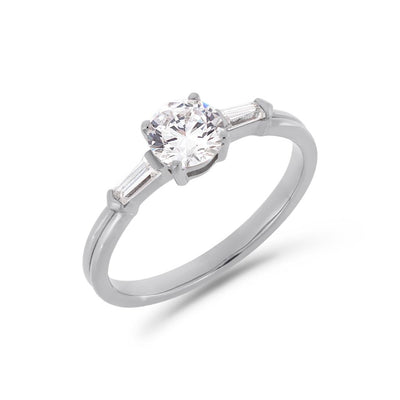 Illusion bullet & brilliant cut diamond ring in white gold