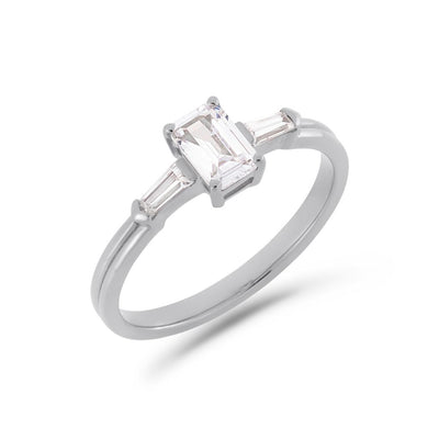 Illusion bullet & emerald cut diamond ring in white gold