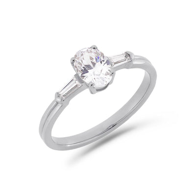 Illusion bullet & oval cut diamond ring in white gold