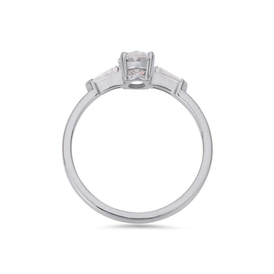 Illusion bullet & oval cut diamond ring in platinum
