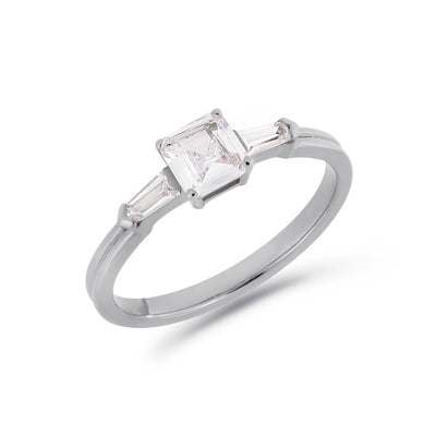 Illusion bullet & asscher cut diamond ring in white gold