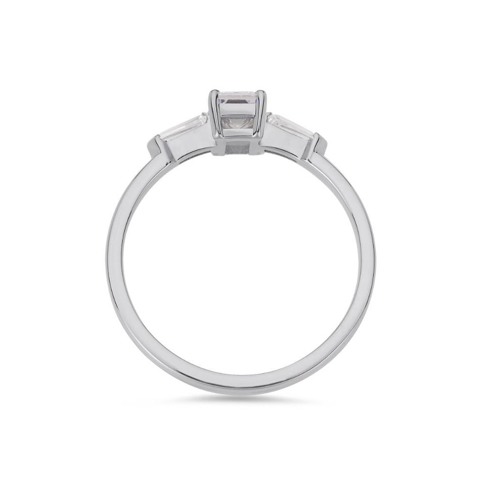 Illusion bullet & asscher cut diamond ring in platinum