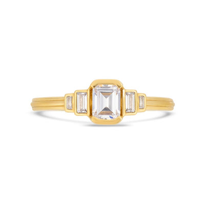 Deco cascading emerald & baguette cut diamond ring in yellow gold