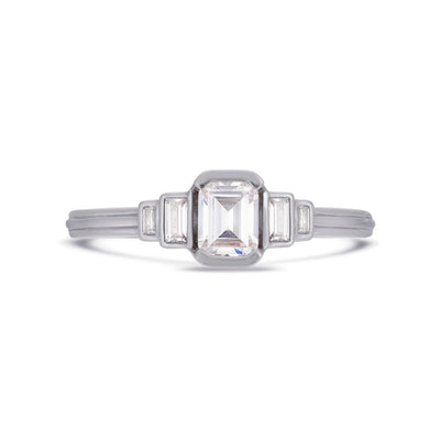 Deco cascading emerald & baguette cut diamond ring in white gold