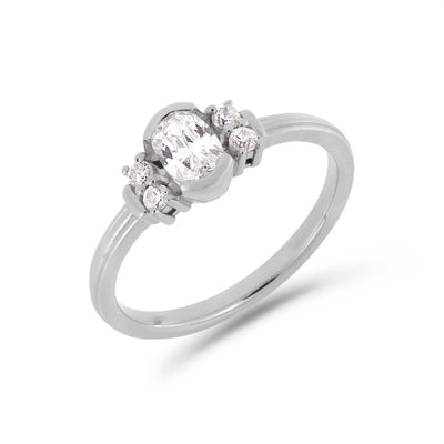 PACK: Platinum/White Gold Deco Oval Cut Solitaire Ring