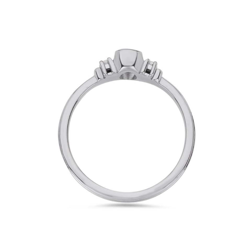 Deco oval cut solitaire diamond ring in white gold