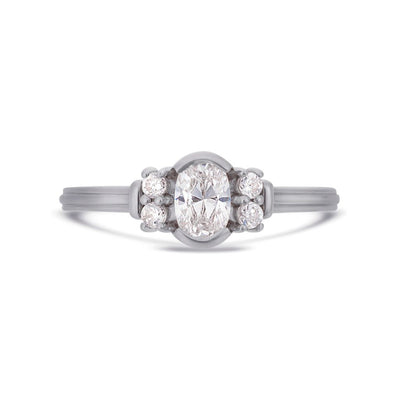 Deco oval cut solitaire diamond ring in platinum