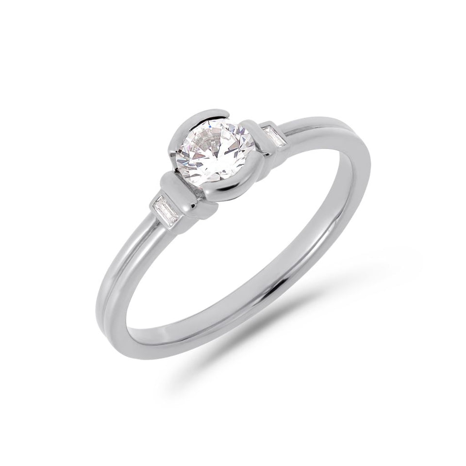 Deco brilliant cut solitaire diamond ring in white gold