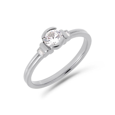 Deco brilliant cut solitaire diamond ring in platinum