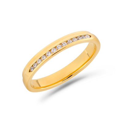 Pillar diamond ring in yellow gold