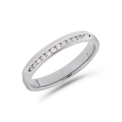 Pillar diamond ring in white gold