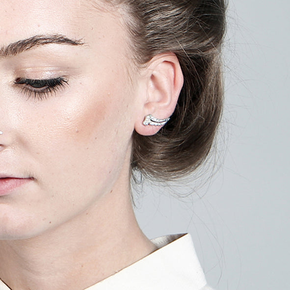 Apollo Silver Lobe Earrings