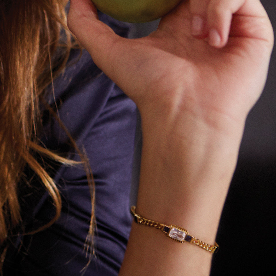 Etta Gold Bracelet In Blue Bracelets V by Laura Vann