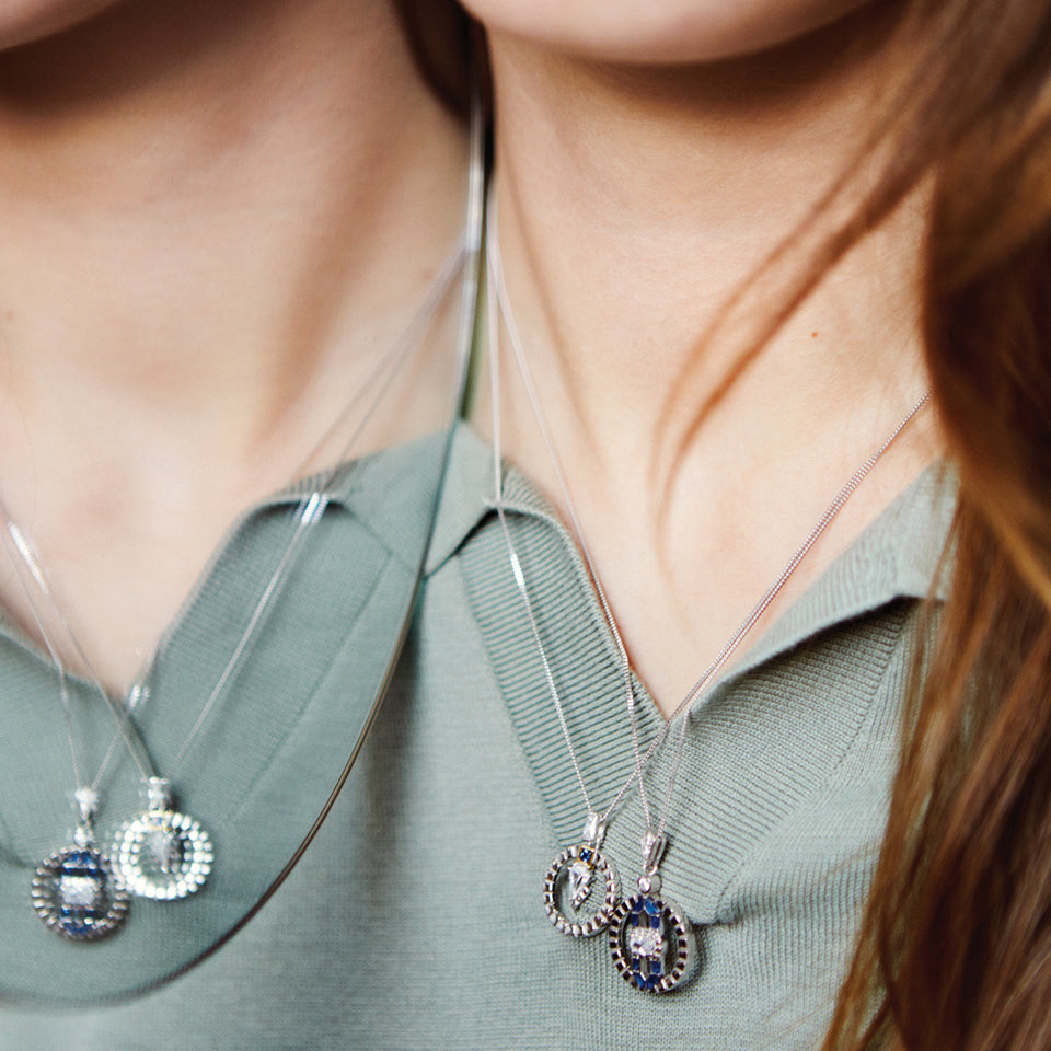 Freya Silver Necklace In Blue Necklaces V by Laura Vann