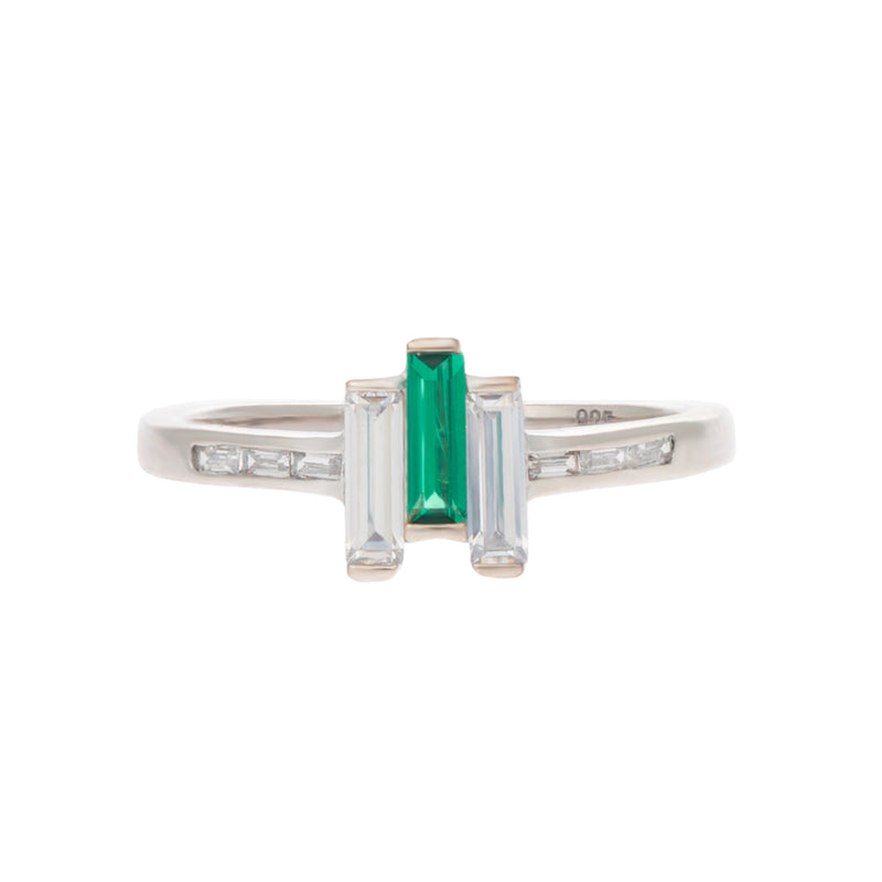 Baguette Chrysler ring in created emerald