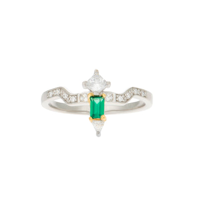 Whitney Sterling Silver Ring in Created Emerald