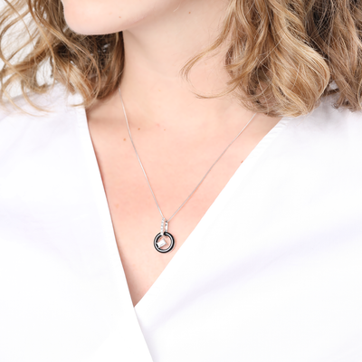Ines Black Agate Silver Necklace
