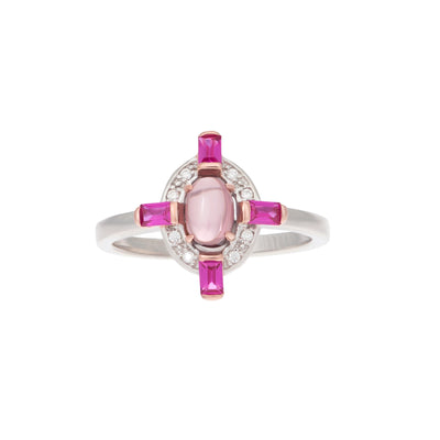 Empire ring in pink corundum
