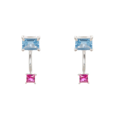 Carla Ear Jacket Earrings In Blue Spinel And Pink Corundum