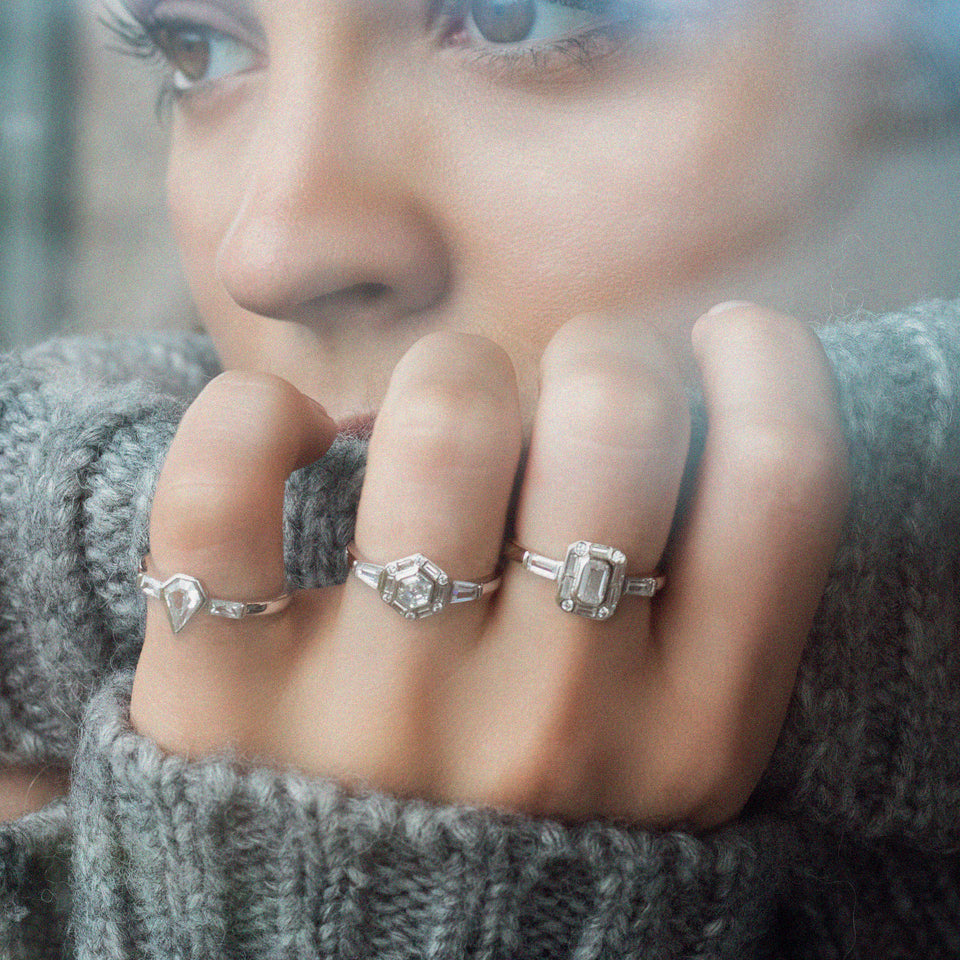 Eve Silver Ring Rings V by Laura Vann