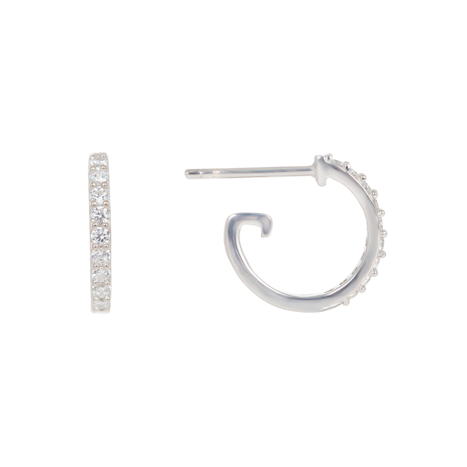 Christie Droppers on Mini Silver Hoop Earrings