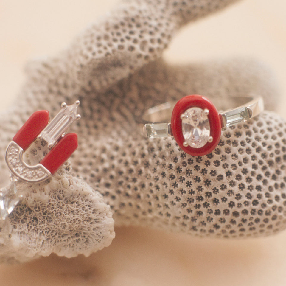 Ursula Sterling Silver Coral Ring