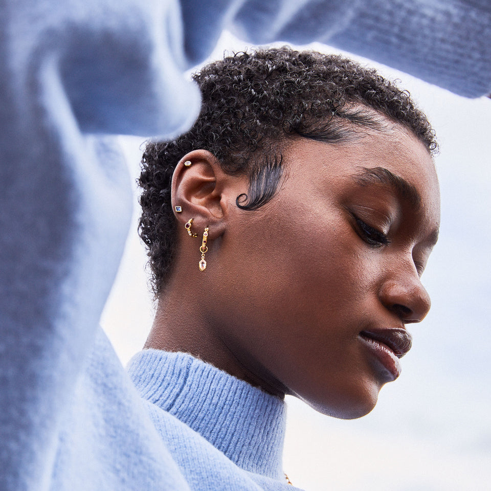 Lena Gold Hoops + Hex Charms