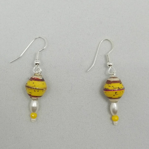 Yellow and Pearl Earrings - Village of Hope - Tabitha Artisans