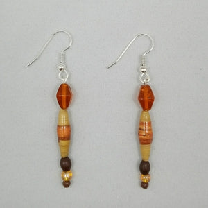 Tan and Amber Earrings - Village of Hope - Tabitha Artisans