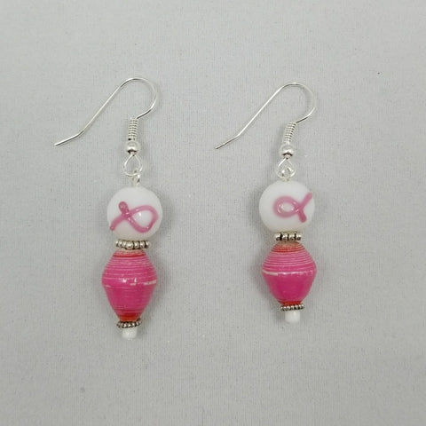 Breast Cancer Awareness Earrings - Village of Hope - Tabitha Artisans