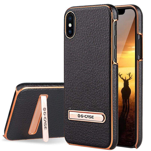 iPhone X Leather Slim Hybrid Hard Case Cover Metal Kickstand - Boltrer