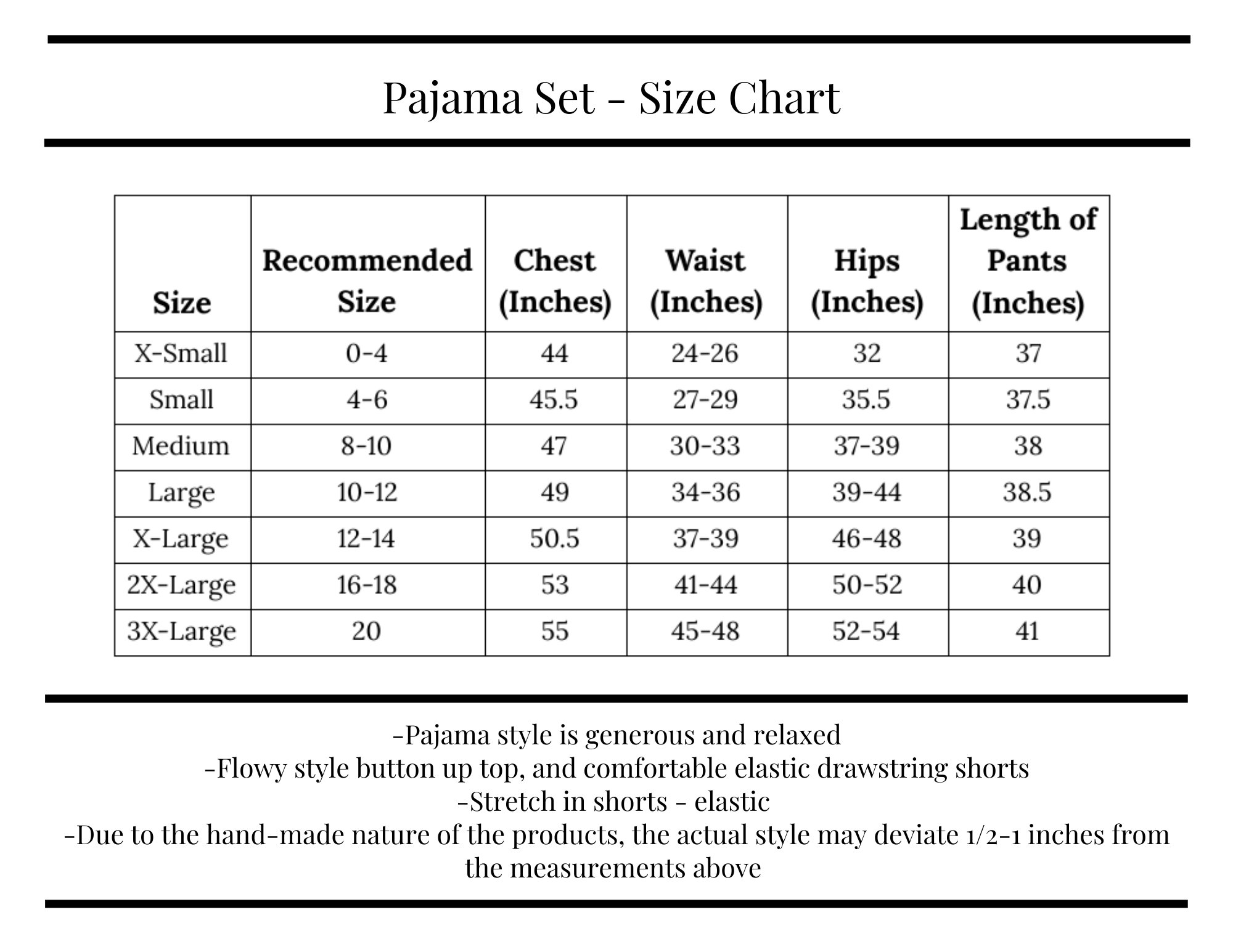 Poppy & Co. - Size Chart - Pajama Sets - Bridesmaids Gifts