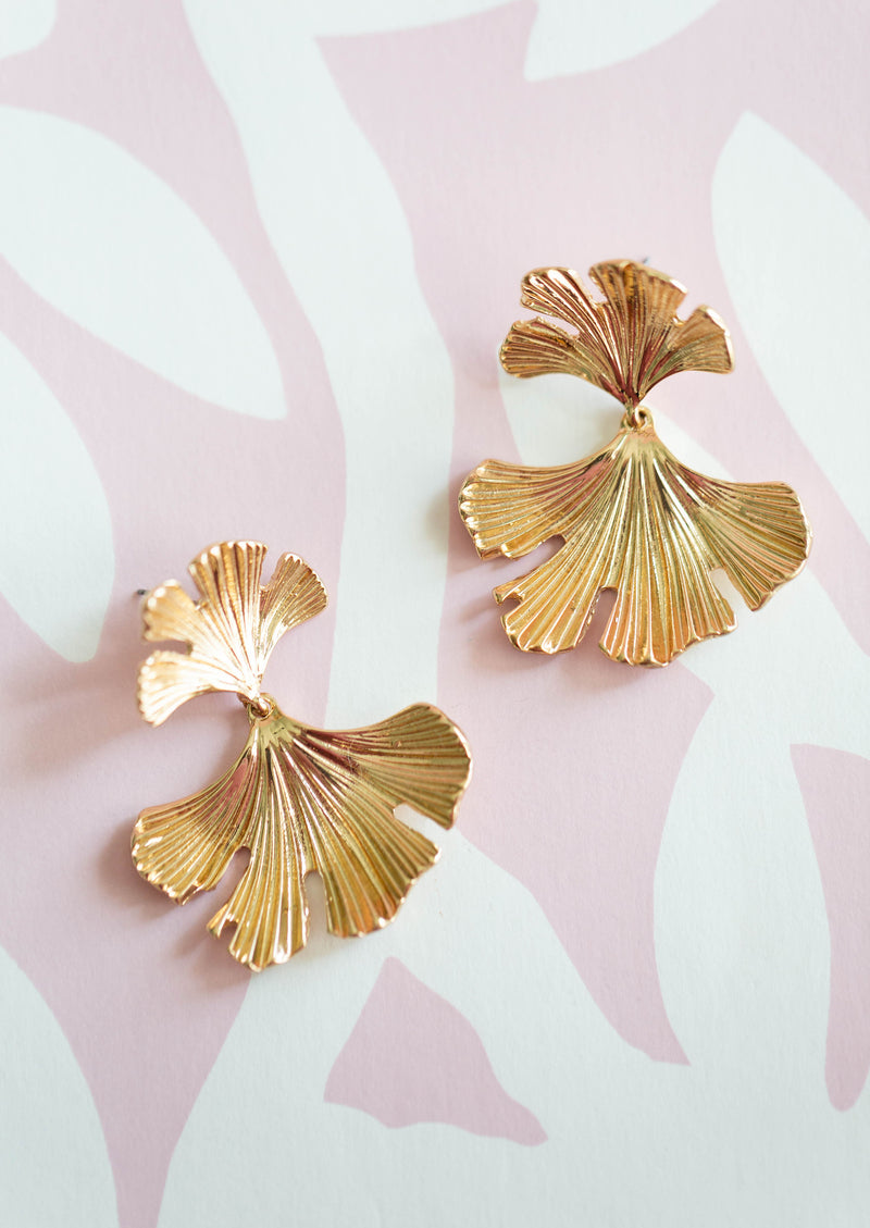 Poppy & Co. - Statement Earrings - Gold Leaf Earrings - Gifts for Mom and Wife