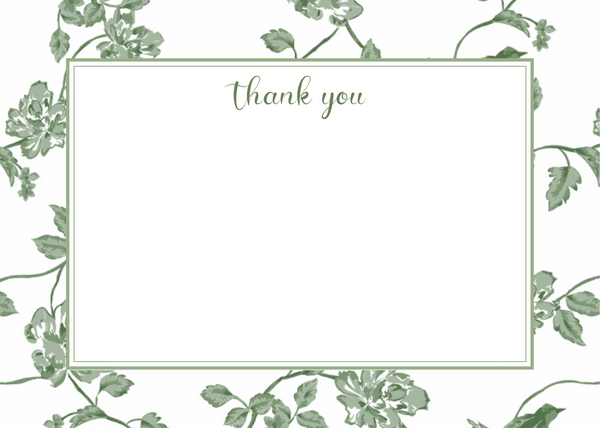 Botanical Green Thank You Card
