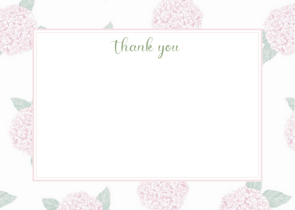 Pink Hydrangea Thank You Card
