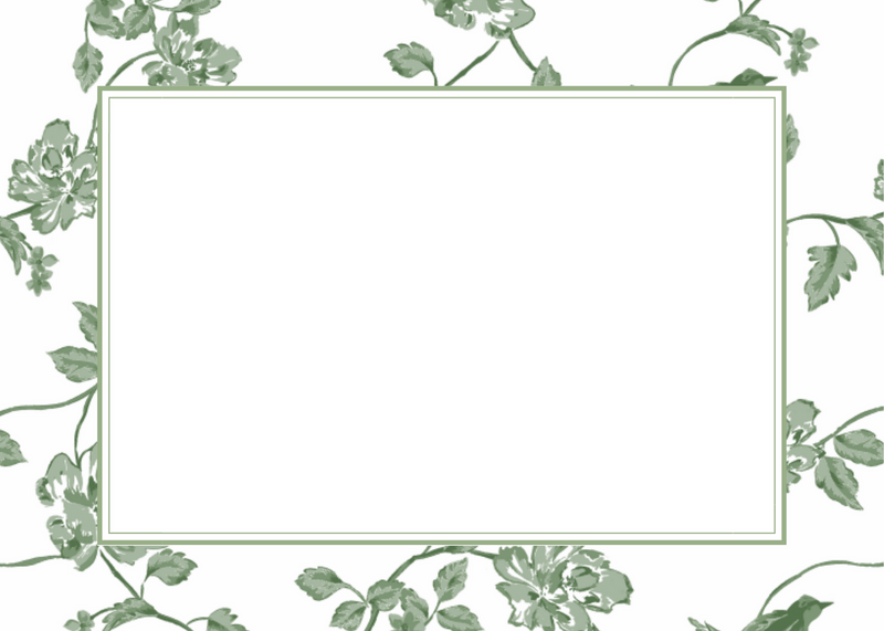Botanical Green Blank Card