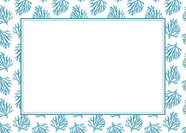 Blue Coral Blank Card