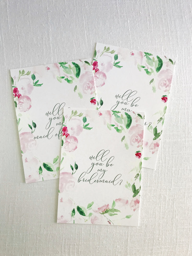 Floral Bridal Party Proposal Card