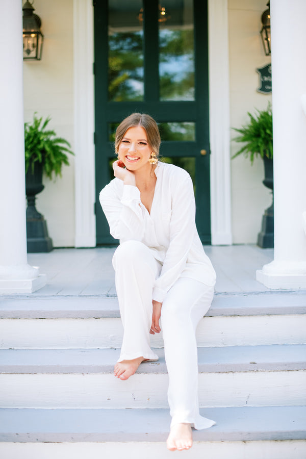 Poppy & Co. - Ivory Pajama Set - Bridesmaids Gifts - Loungewear - Wedding Day Loungewear - Bridal  Loungewear