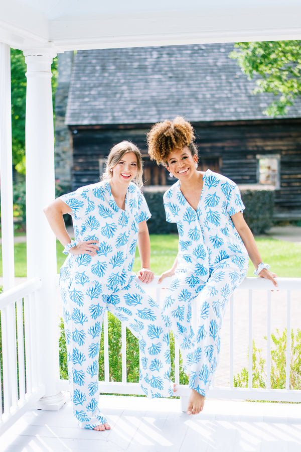 Poppy & Co. - Blue Coral Pants Pajama Set - Bridesmaids Gifts - Loungewear - Wedding Day Loungewear - Bridal Party Loungewear