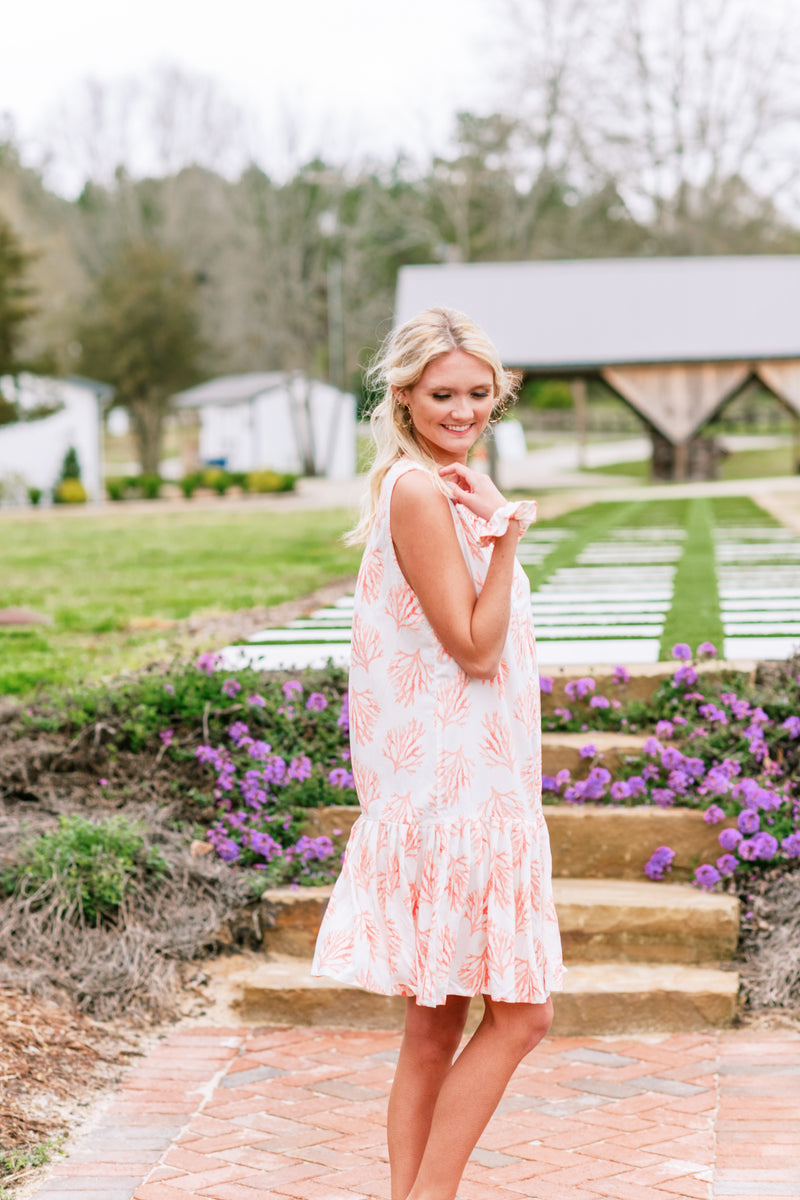 Coral Ruffle Day Dress