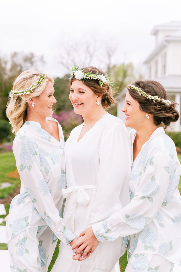 Poppy & Co. - Blue Hydrangea Pajama Set Long- Bridesmaids Gifts - Loungewear - Wedding Day Loungewear - Bridal Party Loungewear